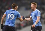 4 March 2017; Paul Flynn, left, and Ciaran Reddan of Dublin shake hands following their side's victory after the Allianz Football League Division 1 Round 4 match between Dublin and Mayo at Croke Park in Dublin. Photo by David Fitzgerald/Sportsfile