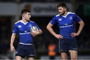 4 March 2017; Luke McGrath, left, and Ross Byrne of Leinster during the Guinness PRO12 Round 17 match between Leinster and Scarlets at the RDS Arena in Ballsbridge, Dublin. Photo by Stephen McCarthy/Sportsfile