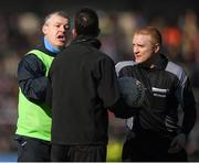 5 March 2017; Roscommon manager Kevin McStay remonstrates with referee Barry Cassidy and linesman Eamon O'Grady over additional time at the end of the first half during the Allianz Football League Division 1 Round 4 match between Roscommon and Kerry at Dr Hyde Park in Roscommon. Photo by Stephen McCarthy/Sportsfile