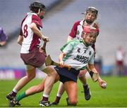 5 March 2017; Orlaith McGrath of Sarsfields in action against Louise Dougan, left, and Aoife Ní Chaiside of Slaughtneil during the AIB All-Ireland Senior Camogie Club Championship Final game between Sarsfields and Slaughtneil at Croke Park in Dublin. Photo by Seb Daly/Sportsfile