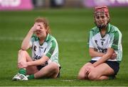 5 March 2017; Clodagh McGrath, left, and Orlaith McGrath of Sarsfields following their side's defeat during the AIB All-Ireland Senior Camogie Club Championship Final game between Sarsfields and Slaughtneil at Croke Park in Dublin. Photo by Seb Daly/Sportsfile