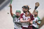 5 March 2017; Aoife Ní Chaiside of Slaughtneil in action against Sarah Spellman of Sarsfields during the AIB All-Ireland Senior Camogie Club Championship Final game between Sarsfields and Slaughtneil at Croke Park in Dublin. Photo by Seb Daly/Sportsfile