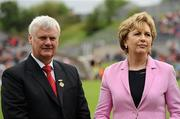 17 July 2011; President Mary McAleese with Aogan Farrell, President of the Ulster Council. Ulster GAA Football Senior Championship Final, Derry v Donegal, St Tiernach's Park, Clones, Co. Monaghan. Picture credit: Brendan Moran / SPORTSFILE