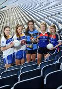 7 March 2017; In attendance at the launch of the Third Level Colleges Cups are Lynch Cup participants, from left to right, Emma McDonagh and Niamh Halton of DIT, Caoimhe Carroll of DCU, Aleisha Cullen and Aine Byrne of W.I.T. Photo by Ramsey Cardy/Sportsfile