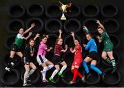10 March 2017; In attendance at the launch of the 2017 Continental Tyres Women's National League are, from left, Louise Corrigan, Peamount United WFC, Ciara Delaney, Kilkenny United WFC, Kylie Murphy, Wexford Youths WFC, Meabh De Burcá, Galway WFC, Pearl Slattery, Shelbourne Ladies, Emily Cahill, UCD Waves, and Saoirse Noonan, Cork City WFC. The 2017 season will kick off on March 18th and will end with the FAI Senior Women's cup final at the Aviva in November. Photo by Seb Daly/Sportsfile