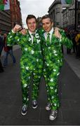 10 March 2017; Ireland supporters Fergal McKenna, left, from Slaughtneil, Co Derry, and Conor Casey, from Swords, Co Dublin, prior to the RBS Six Nations Rugby Championship match between Wales and Ireland at the Principality Stadium in Cardiff, Wales. Photo by Stephen McCarthy/Sportsfile