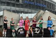10 March 2017; In attendance at the launch of the 2017 Continental Tyres Women's National League are, from left, Ciara Delaney, Kilkenny United WFC, Saoirse Noonan, Cork City WFC, Kylie Murphy, Wexford Youths WFC, Pearl Slattery, Shelbourne Ladies, Meabh De Burcá, Galway WFC, Louise Corrigan, Peamount United WFC, and Emily Cahill, UCD Waves. The 2017 season will kick off on March 18th and will end with the FAI Senior Women's cup final at the Aviva in November. Photo by Seb Daly/Sportsfile