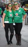 10 March 2017; Ireland supporters Roisin Field, from Leixlip, Kildare, left, and Fiona Duffy, from Blessington, Wicklow, before the RBS Six Nations Rugby Championship match between Wales and Ireland at the Principality Stadium in Cardiff, Wales. Photo by Stephen McCarthy/Sportsfile