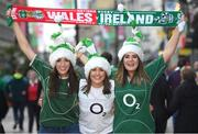 10 March 2017; Ireland supporters, from left, Aoibhin O'Mahony, from Carrigtwohill, Maeve O'Connor, from Kanturk, and Jane Fitzpatrick, from Mallow, all Co Cork, prior to the RBS Six Nations Rugby Championship match between Wales and Ireland at the Principality Stadium in Cardiff, Wales. Photo by Stephen McCarthy/Sportsfile