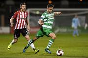 10 March 2017; Ronan Finn of Shamrock Rover in action against Dean Jarvis of Derry City during the SSE Airtricity League Premier Division match between Shamrock Rovers and Derry City at Tallaght Stadium in Tallaght, Dublin. Photo by Matt Browne/Sportsfile