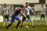 10 March 2017; Kevin O'Connor of Cork City in action against Thomas Byrne of Drogheda United during the SSE Airtricity League Premier Division game between Drogheda United and Cork City at United Park in Drogheda, Co. Louth. Photo by Eóin Noonan/Sportsfile