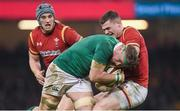 10 March 2017; Jamie Heaslip of Ireland is tackled by Scott Williams of Wales during the RBS Six Nations Rugby Championship match between Wales and Ireland at the Principality Stadium in Cardiff, Wales. Photo by Brendan Moran/Sportsfile