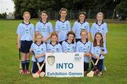 14 August 2011; The Dublin camogie team, back row, left to right, Amy Keating, St. Flannan's N.S. Inagh, Co. Clare, Danielle Grehan, Our Lady's Abbey N.S., Adare, Co. Limerick, Sorcha McDonald, Clontibret N.S., Co. Monaghan, Aoife Coughlin, Crecora N.S., Patrickswell, Co. Limerick, and Myra O'Sullivan, Scoil an Athat Tadgh, Carrignavar, Co. Cork, front row, left to right, Tierna Johnston, Holy Child P.S., Belfast, Co. Antrim, Áine Doyle, Our Lady's, Tullysaran, Co. Armagh, Clodagh Walsh, St. Eric's N.S., Kilmoyley, Ardfert, Co. Kerry, Jodie de Faoite, St. Colmcille's N.S. Knocklyon, Co. Dublin, and Eimear Rogers, St. Michael's P.S. Belfast, Co. Antrim. Go Games Exhibition - Sunday 14th August 2011, Clonliffe College,  Dublin. Picture credit: Ray McManus / SPORTSFILE