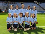 14 August 2011; The Dublin camogie team, back row, left to right, Amy keating, St. Flannan's N.S. Inagh, Co. Clare, Danielle Grehan, Our Lady's Abbey N.S., Adare, Co. Limerick, Sorcha McDonald, Clontibret N.S., Co. Monaghan, Aoife Coughlin, Crecora N.S., Patrickswell, Co. Limerick, and Myra O'Sullivan, Scoil an Athat Tadgh, Carrignavar, Co. Cork, front row, left to right, Tierna Johnston, Holy Child P.S., Belfast, Co. Antrim, Áine Doyle, Our Lady's, Tullysaran, Co. Armagh, Clodagh Walsh, St. Eric's N.S., Kilmoyley, Ardfert, Co. Kerry, Jodie de Faoite, St. Colmcille's N.S. Knocklyon, Co. Dublin, and Eimear Rogers, St. Michael's P.S. Belfast, Co. Antrim. Go Games Exhibition - Sunday 14th August 2011, Croke Park, Dublin. Picture credit: Ray McManus / SPORTSFILE
