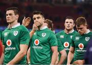 10 March 2017; Conor Murray, second from left, and his Ireland team-mates, including Jonathan Sexton, Robbie Henshaw and Garry Ringrose following the RBS Six Nations Rugby Championship match between Wales and Ireland at the Principality Stadium in Cardiff, Wales. Photo by Stephen McCarthy/Sportsfile