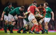 10 March 2017; Jamie Heaslip of Ireland is tackled by Sam Warburton, left, and Taulupe Faletau of Wales during the RBS Six Nations Rugby Championship match between Wales and Ireland at the Principality Stadium in Cardiff, Wales. Photo by Stephen McCarthy/Sportsfile