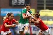 11 March 2017; Hannah Tyrrell of Ireland is tackled by Kerin Lake, left and Elen Evans of Wales during the RBS Women's Six Nations Rugby Championship match between Wales and Ireland at BT Sport Arms Park, Cardiff, Wales. Photo by Darren Griffiths/Sportsfile