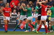 11 March 2017; Hannah Tyrrell of Ireland celebrates her try with team mates during the RBS Women's Six Nations Rugby Championship match between Wales and Ireland at BT Sport Arms Park, Cardiff, Wales. Photo by Darren Griffiths/Sportsfile