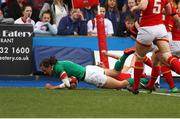 11 March 2017; Hannah Tyrrell of Ireland scores a try during the RBS Women's Six Nations Rugby Championship match between Wales and Ireland at BT Sport Arms Park, Cardiff, Wales. Photo by Darren Griffiths/Sportsfile