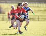 11 March 2017; Caoimhe Condon of UCC in action against Deirdre Foley of UCD during the O'Connor Cup Semi Final match between UCD and UCC at Connacht Gaelic Athletic Association Centre of Excellence in Cloonacurry, Knock, Co. Mayo. Photo by Matt Browne/Sportsfile