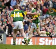 26 September 2004; Kerry's Colm Cooper celebrates scoring his sides goal against Mayo with team-mate Dara O Cinneide (14). Bank of Ireland All-Ireland Senior Football Championship Final, Kerry v Mayo, Croke Park, Dublin. Picture credit; Brendan Moran / SPORTSFILE