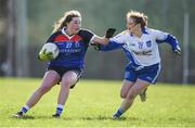 12 March 2017; Marie Byrne of WIT in action Aideen Meehan of DIT  during the Lynch Cup Final match between Waterford Institute of Technology and Dublin Institute of Technology at St Patrick's Park in Westport, Co. Mayo. Photo by Brendan Moran/Sportsfile