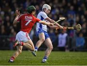 12 March 2017; Shane Bennett of Waterford shoots to score his side's first goal despite the attention of Mark Coleman of Cork during the Allianz Hurling League Division 1A Round 4 match between Waterford and Cork at Walsh Park in Waterford. Photo by Stephen McCarthy/Sportsfile