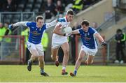 12 March 2017; Padraig McNulty of Tyrone in action against Gearoid McKiernan and Niall Murray of Cavan during the Allianz Football League Division 1 Round 3 Refixture match between Tyrone and Cavan at Healy Park in Omagh, Co. Tyrone. Photo by Oliver McVeigh/Sportsfile