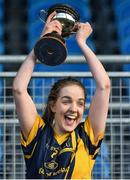 12 March 2017; DCU captain Aoife Norris lifts the cup after the Giles Cup Final match between Dublin City University and Athlone Institute of Technology at Elverys MacHale Park in Castlebar, Co. Mayo. Photo by Brendan Moran/Sportsfile