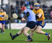 12 March 2017; Ryan O'Dwyer of Dublin in action against Seadna Morley of Clare during the Allianz Hurling League Division 1A Round 4 match between Clare and Dublin at Cusack Park in Ennis, Co. Clare. Photo by Ray McManus/Sportsfile