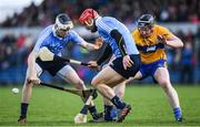 12 March 2017; Ryan O'Dwyer and Caolán Conway of Dublin in action against Seadna Morley of Clare during the Allianz Hurling League Division 1A Round 4 match between Clare and Dublin at Cusack Park in Ennis, Co. Clare. Photo by Ray McManus/Sportsfile