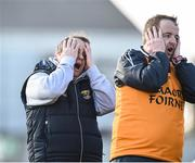 12 March 2017; Wexford manager Davy Fitzgerald and selector Seoirse Bulfin react to a late missed point during the closing stages of the Allianz Hurling League Division 1B Round 4 match between Offaly and Wexford at O'Connor Park in Tullamore, Co. Offaly. Photo by David Maher/Sportsfile