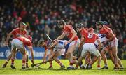12 March 2017; Patrick Curran and Pauric Mahony, 11, of Waterford tussle for possession against Cork players, from left, Lorcan McLoughlin, Stephen McDonnell, Mark Coleman, Damian Cahalane, Colm Spillane, Bill Cooper and Mark Ellis during the Allianz Hurling League Division 1A Round 4 match between Waterford and Cork at Walsh Park in Waterford. Photo by Stephen McCarthy/Sportsfile