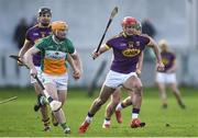 12 March 2017; Lee Chin of Wexford in action against Sean Gardiner of Offaly during the Allianz Hurling League Division 1B Round 4 match between Offaly and Wexford at O'Connor Park in Tullamore, Co. Offaly. Photo by David Maher/Sportsfile