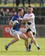 12 March 2017; Conor Madden of Cavan in action against Pádraig Hampsey of Tyrone during the Allianz Football League Division 1 Round 3 Refixture match between Tyrone and Cavan at Healy Park in Omagh, Co. Tyrone. Photo by Oliver McVeigh/Sportsfile