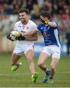 12 March 2017; Tiernan McCann of Tyrone  in action against Niall Clerkin of Cavan during the Allianz Football League Division 1 Round 3 Refixture match between Tyrone and Cavan at Healy Park in Omagh, Co. Tyrone. Photo by Oliver McVeigh/Sportsfile