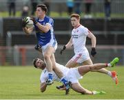 12 March 2017; Killian Brady of Cavan  in action against Tiernan McCann of Tyrone during the Allianz Football League Division 1 Round 3 Refixture match between Tyrone and Cavan at Healy Park in Omagh, Co. Tyrone. Photo by Oliver McVeigh/Sportsfile