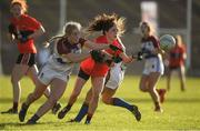12 March 2017; Orla Devitt of UCC in action against Aisling McCarthy of UL during the O'Connor Cup Final match between University of Limerick and University College Cork at Elverys MacHale Park in Castlebar, Co. Mayo. Photo by Brendan Moran/Sportsfile