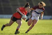 12 March 2017; Doireann O'Sullivan of UCC in action against Caoimhe McGrath of UL during the O'Connor Cup Final match between University of Limerick and University College Cork at Elverys MacHale Park in Castlebar, Co. Mayo. Photo by Brendan Moran/Sportsfile