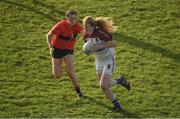 12 March 2017; Louise Ward of UCC in action against Eimear Meaney of UL during the O'Connor Cup Final match between University of Limerick and University College Cork at Elverys MacHale Park in Castlebar, Co. Mayo. Photo by Brendan Moran/Sportsfile