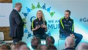 11 March 2017; Stacey Cannon, GAA Health & Wellbeing Coordinator and Former Dublin footballer Alan Brogan, with MC Eóin Conroy speaking at the GAA Healthy Club Roadshow - Leinster. The GAA Healthy Clubs Project, in partnership with Irish Life and Healthy Ireland, aims to inspire and empower more GAA clubs to support their members and communities in pursuit of better physical, social, and mental wellbeing. The Leinster HCP is part of a series of roadshows taking place across the country. GAA clubs can book up to four free places per club at their respective provincial Healthy Clubs roadshow by visiting: www.gaa.ie/community. For more information, visit: www.gaa.ie/community Follow: @officialgaa or Like: www.facebook.com/officialgaa/. Croke Park, Dublin. Photo by Piaras Ó Mídheach/Sportsfile