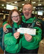 14 March 2017; Team Ireland's Laoise Kenny, a member of Kilternan Karvers Special Olympics Club, from Monkstown, Co. Dublin, and Team Ireland's Cyril Walker, a member of Skiability Special Olympics Club, from Markethill, Co. Armagh, pictured at Dublin Airport prior to their departure for the 2017 Special Olympics World Winter Games in Austria. Dublin Airport, Dublin. Photo by Ray McManus/Sportsfile