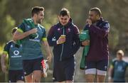 14 March 2017; Ireland players from left, Conor Murray, Tiernan O'Halloran and Simon Zebo arrive ahead of squad training at Carton House in Maynooth, Co Kildare. Photo by David Fitzgerald/Sportsfile