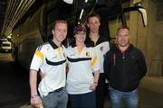 7 August 2011; Ayeisha Grogan, from Lisdowney, Co Kilkenny, meets Kilkenny stars left to right, James 'Cha' Fitzpatrick, captain Brian Hogan, and PJ Ryan after the game. Aleisha had spent 42 days in a coma after a road traffic accident in October 2010. This was her first visit to Croke park since the accident. GAA Hurling All-Ireland Senior Championship Semi-Final, Kilkenny v Waterford, Croke Park, Dublin. Picture credit: Ray McManus / SPORTSFILE