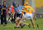 20 August 2011; Niall McMorrow, Dublin, in action against Stephen Smyth and Terry McAllister, Antrim. Bord Gais Energy GAA Hurling Under 21 All-Ireland Championship Semi-Final, Antrim v Dublin, Pairc Esler, Newry, Co. Down. Picture credit: Oliver McVeigh / SPORTSFILE