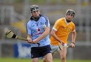 20 August 2011; Tomas Connolly, Dublin, in action against Michael Armstrong, Antrim. Bord Gais Energy GAA Hurling Under 21 All-Ireland Championship Semi-Final, Antrim v Dublin, Pairc Esler, Newry, Co. Down. Picture credit: Oliver McVeigh / SPORTSFILE