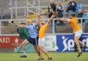 20 August 2011; Eamon Dillon, Dublin, in action against Chris Loughran and Michael Armstrong, Antrim. Bord Gais Energy GAA Hurling Under 21 All-Ireland Championship Semi-Final, Antrim v Dublin, Pairc Esler, Newry, Co. Down. Picture credit: Oliver McVeigh / SPORTSFILE