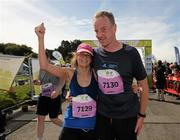 20 August 2011; Gillian Hyland and Kenneth O'Connor, both from Leotrim, celebrate after finishing the National Lottery Frank Duffy 10 Mile race, Phoenix Park, Dublin. Picture credit: Pat Murphy / SPORTSFILE