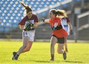 12 March 2017; Eimear Scally of UL in action against Megan Dunford of UCC during the O'Connor Cup Final match between University of Limerick and University College Cork at Elverys MacHale Park in Castlebar, Co. Mayo. Photo by Brendan Moran/Sportsfile