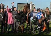 15 March 2017; Jockey Noel Fehily and the winning connections of Special Tiara including owner Sally Rowley-Williams and trainer Henry de Bromhead after winning the Betway Queen Mother Champion Steeple Chase during the Cheltenham Racing Festival at Prestbury Park in Cheltenham, England. Photo by Cody Glenn/Sportsfile